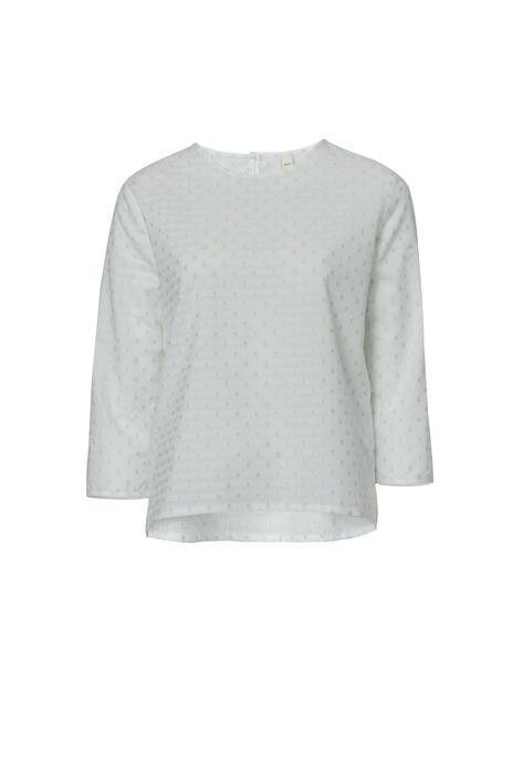 Dotted White Organic Voile Blouse