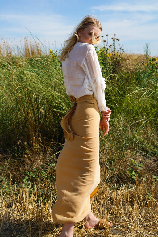 Wrap Beige Summer Maxi Vegan Skirt