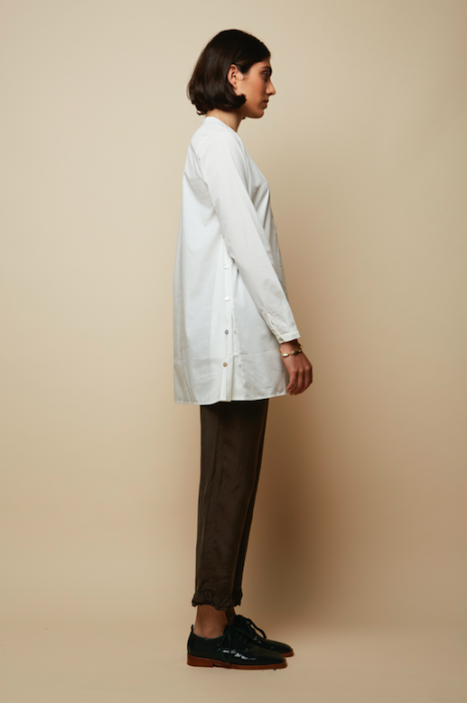 Side and Front Mother of Pearl Buttoned Organic Certified White Poplin Tunic Sustainable Shirt- Rakha