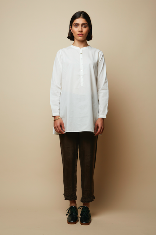 Side and Front Buttoned Organic White Tunic Shirt