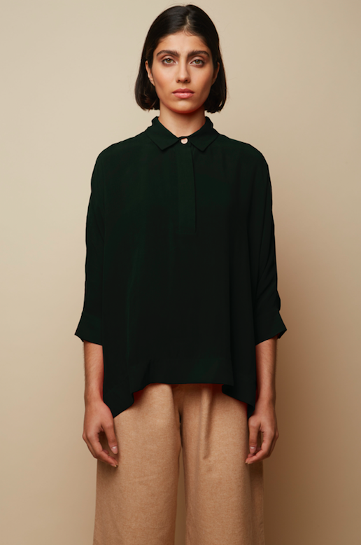 Sustainable Vegan and Recycled Khaki Oversized Shirt Rakha Shirt with Slits