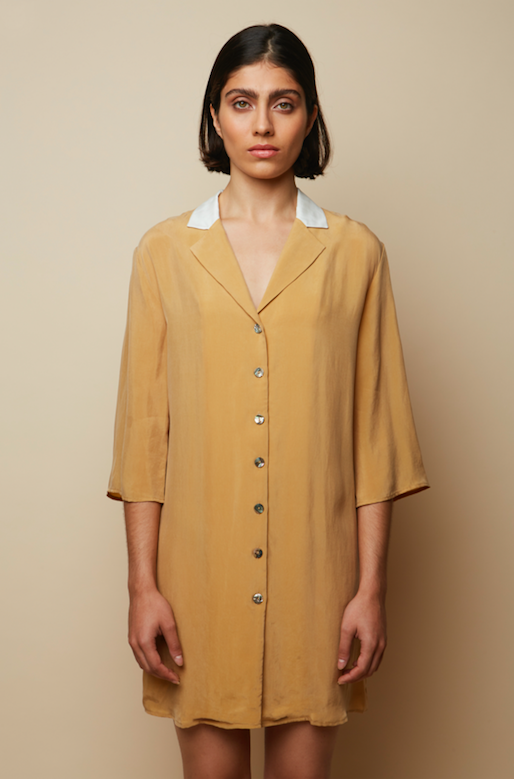 Sustainable Vegan and Recycled beige and white pleated shirt dress tunic Rakha