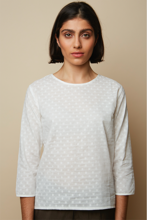 Embroidery Dotted Organic White Blouse-Rakha