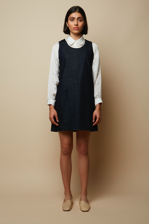 Rakha Organic Denim Side Stud Buttoned Midi Sustainable Dress-Rakha