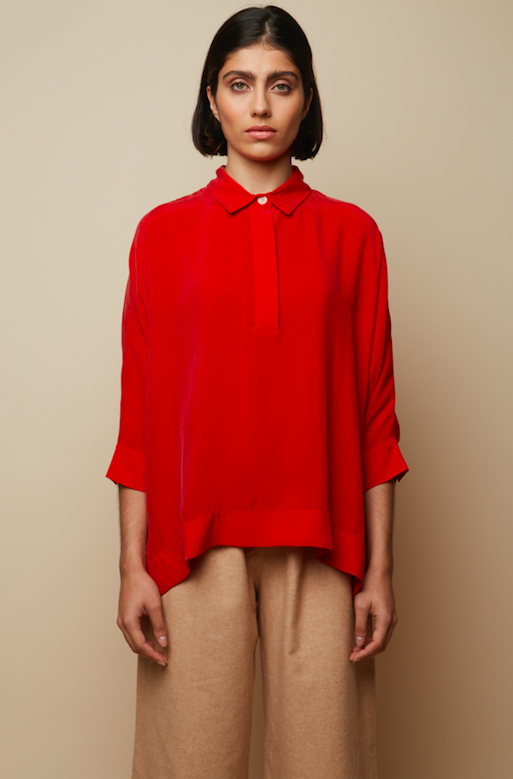 Vegan Cupro Recycled Oversized Loose Sustainable Red Lurid Shirt Corozo Buttoned Shirt -Rakha