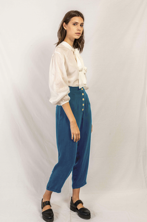 Vegan and Recycled Blue Cupro Front Buttoned Sustainable Pants Rakha