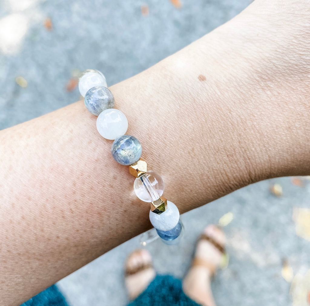 White & Grey Moonstone + Clear Quartz Bracelet