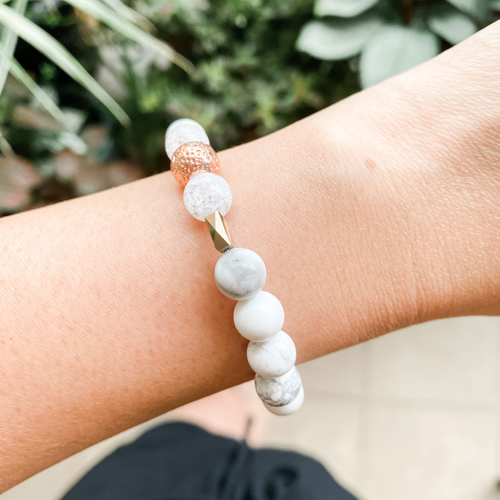 Howlite + Rose gold Lava + Rock Crystal Bracelet