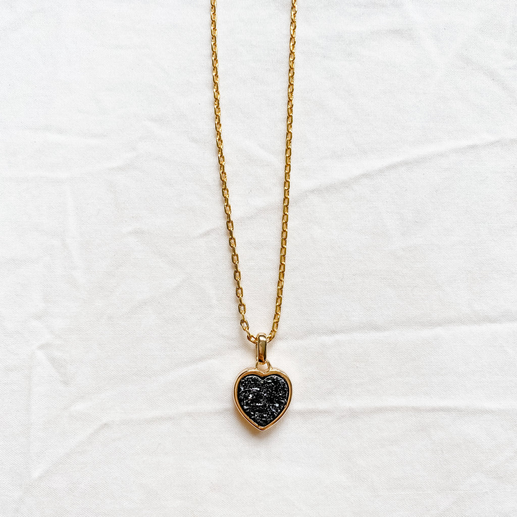 Black Druzy Heart Necklace