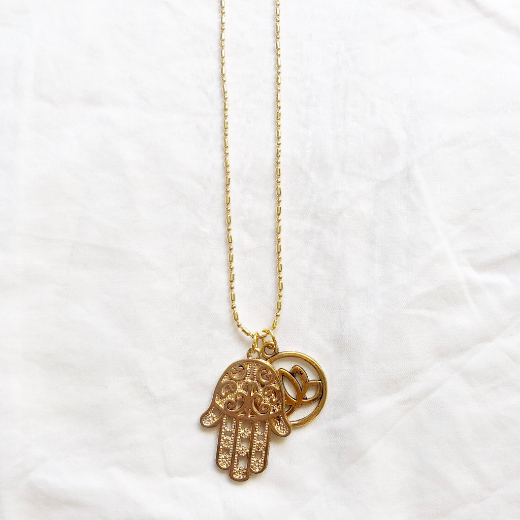 Hamsa & Lotus Necklace
