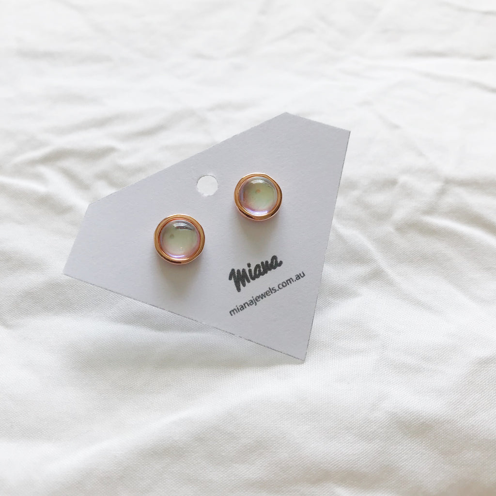 Moonstone Stud Rose Gold Earrings