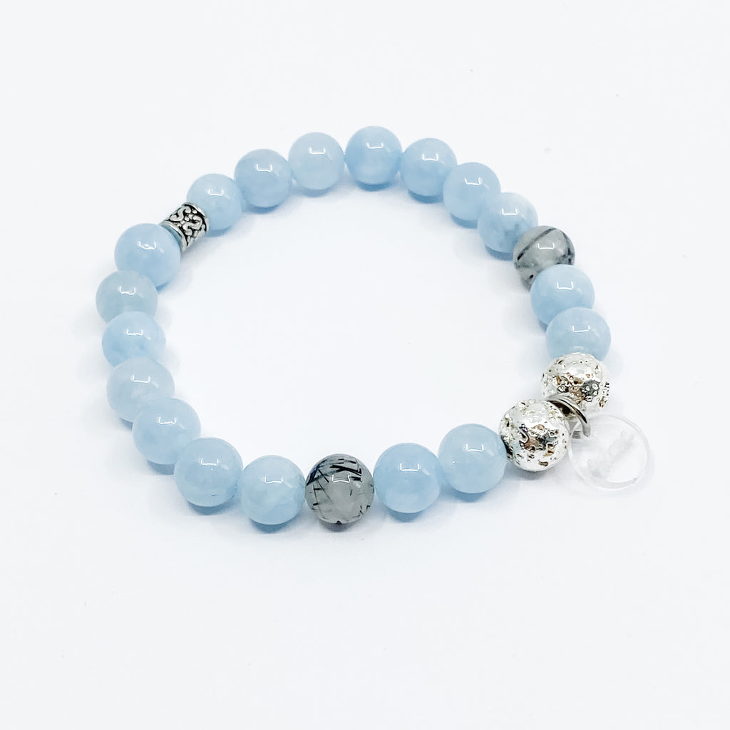 Aquamarine + Rutilated Quartz + Silver Lava Bracelet