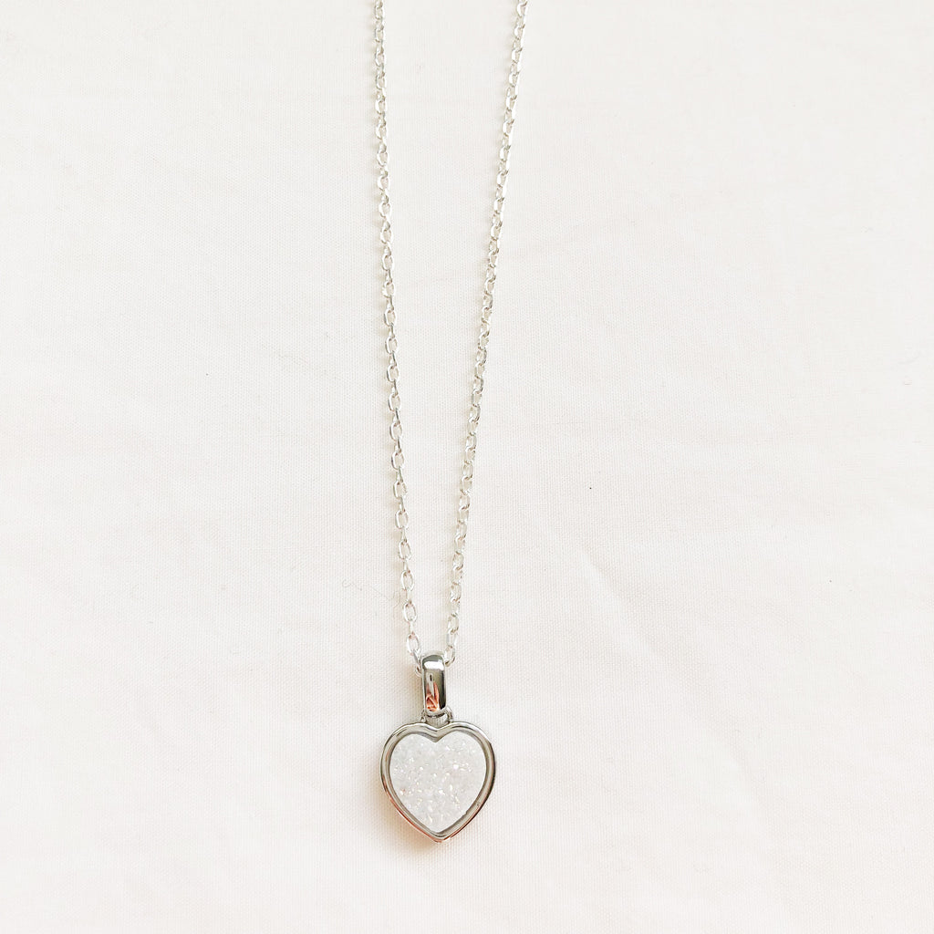 Pearl Druzy Heart Necklace