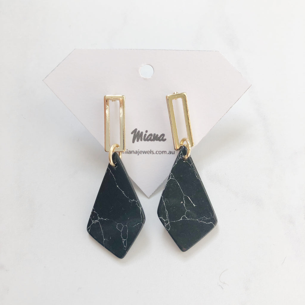 Black Howlite Earrings