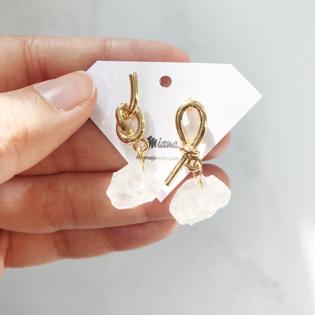 Clear Quartz Raw Nugget Earrings