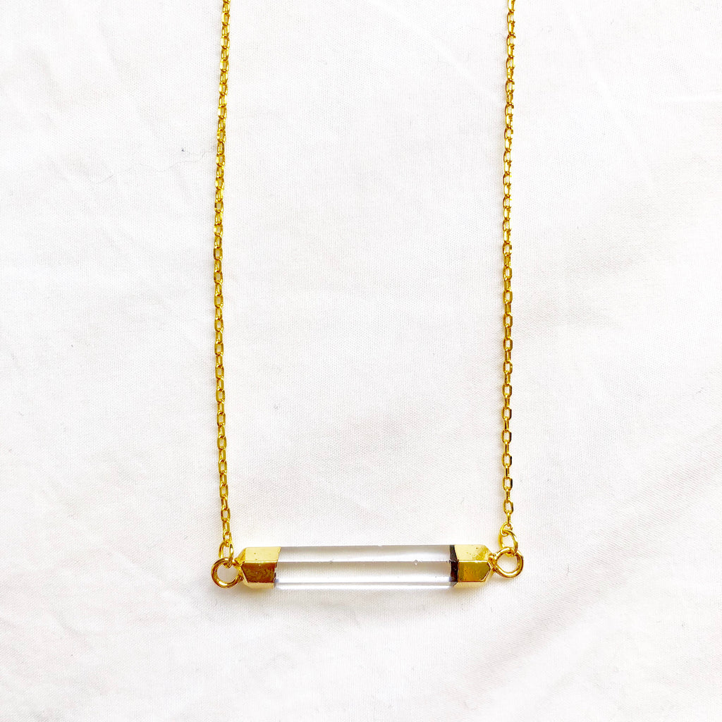 Clear Quartz Bar Necklace