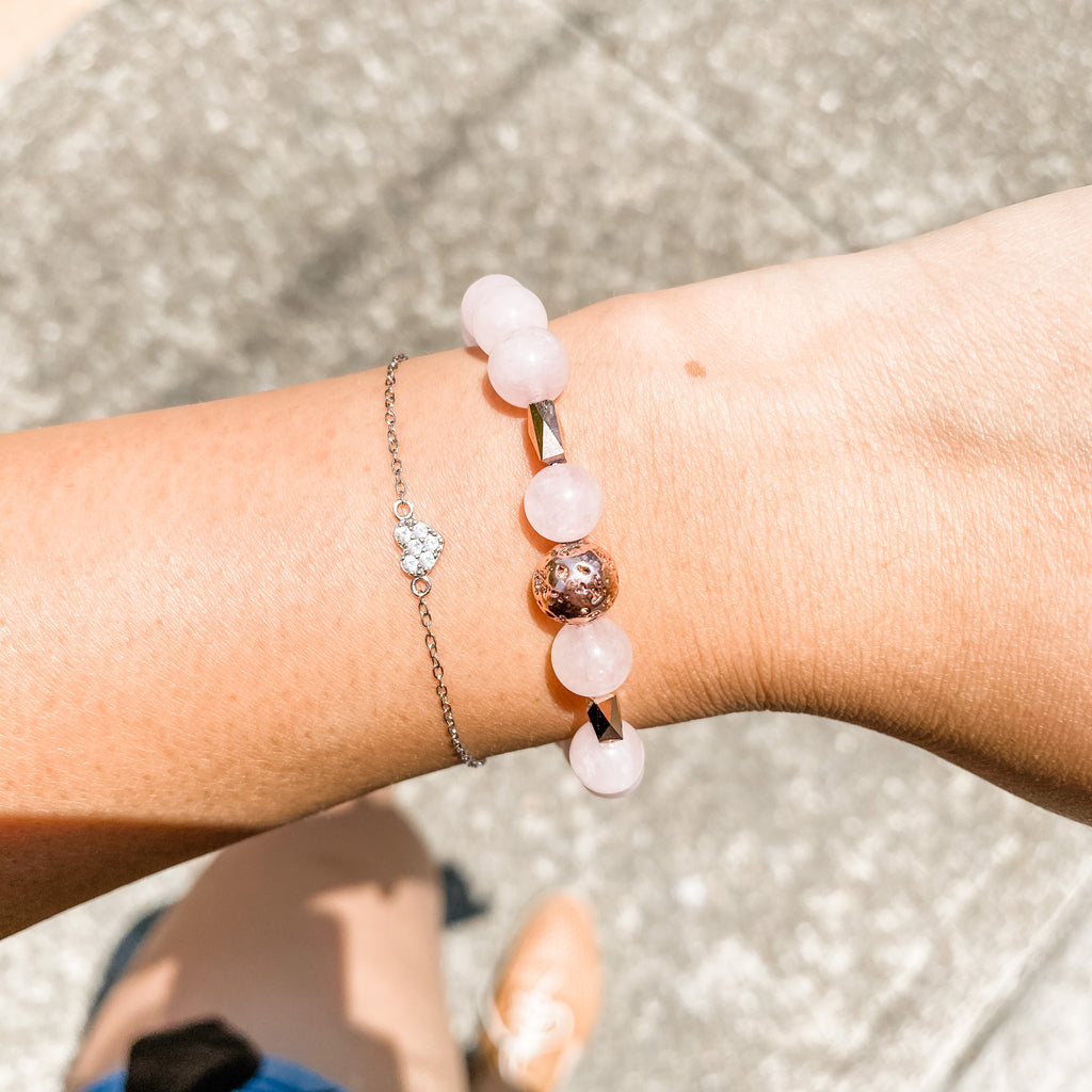 Rose Quartz + Rose gold Lava Bracelet
