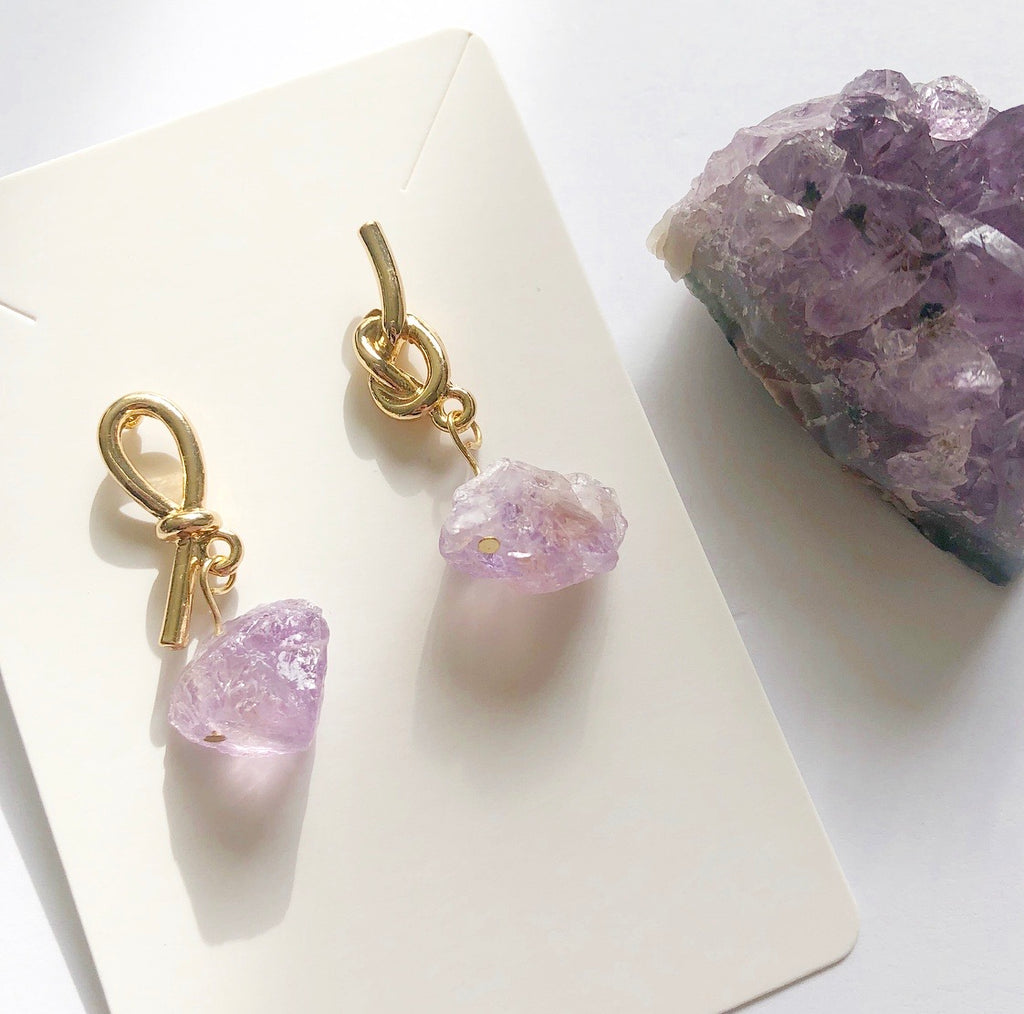 Amethyst Raw Nugget Earrings
