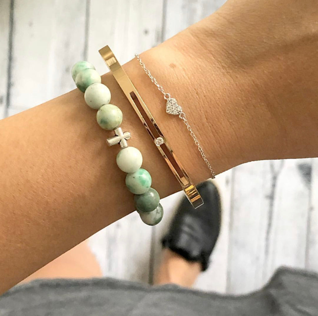Amazonite + Cross Bracelet