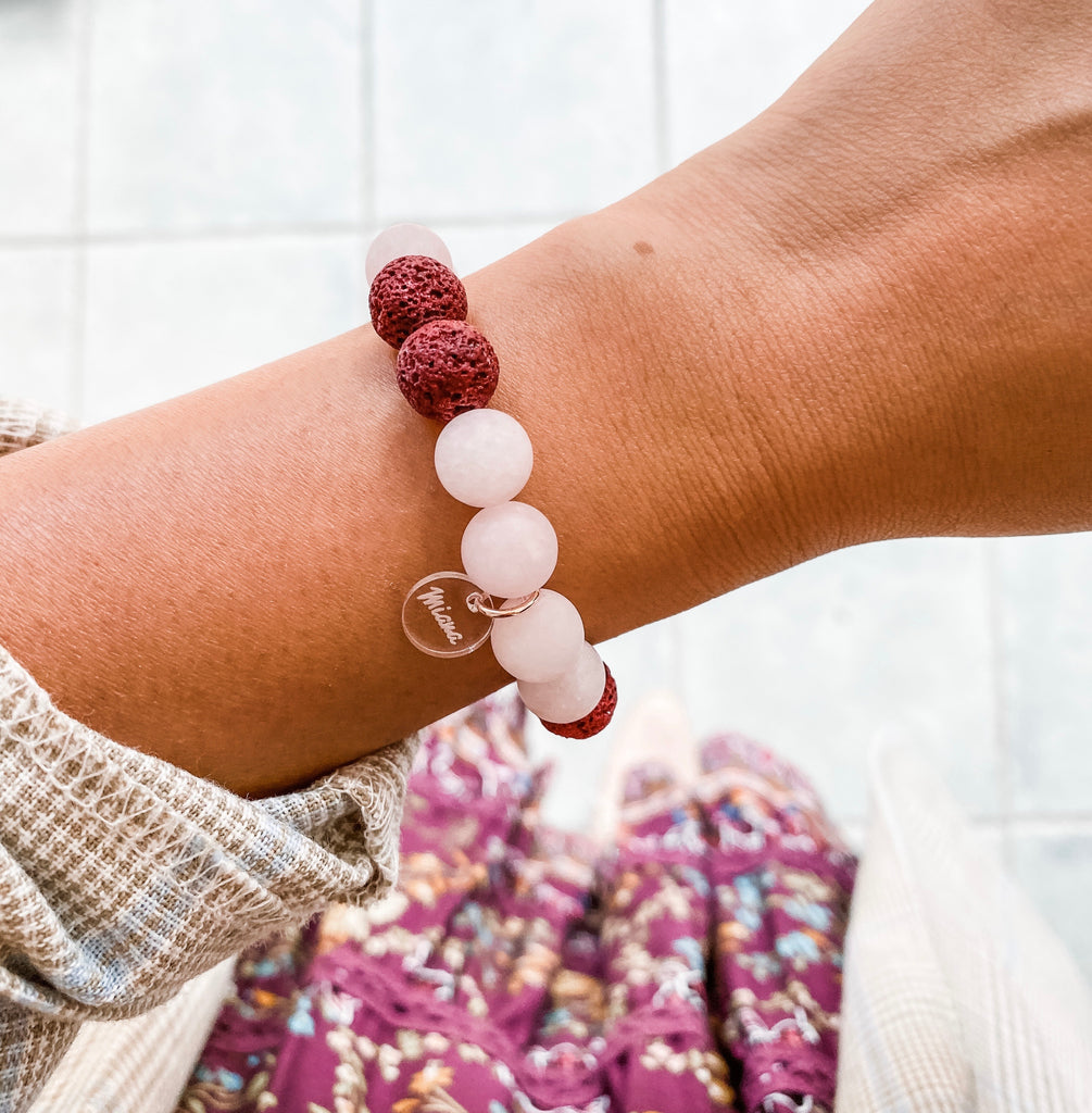 Rose Quartz + Rose Essential Oil Diffuser Bracelet