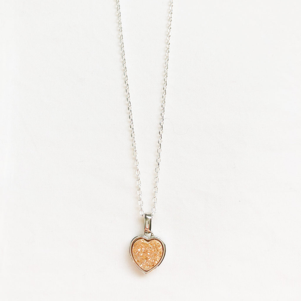 Peach Druzy Heart Necklace