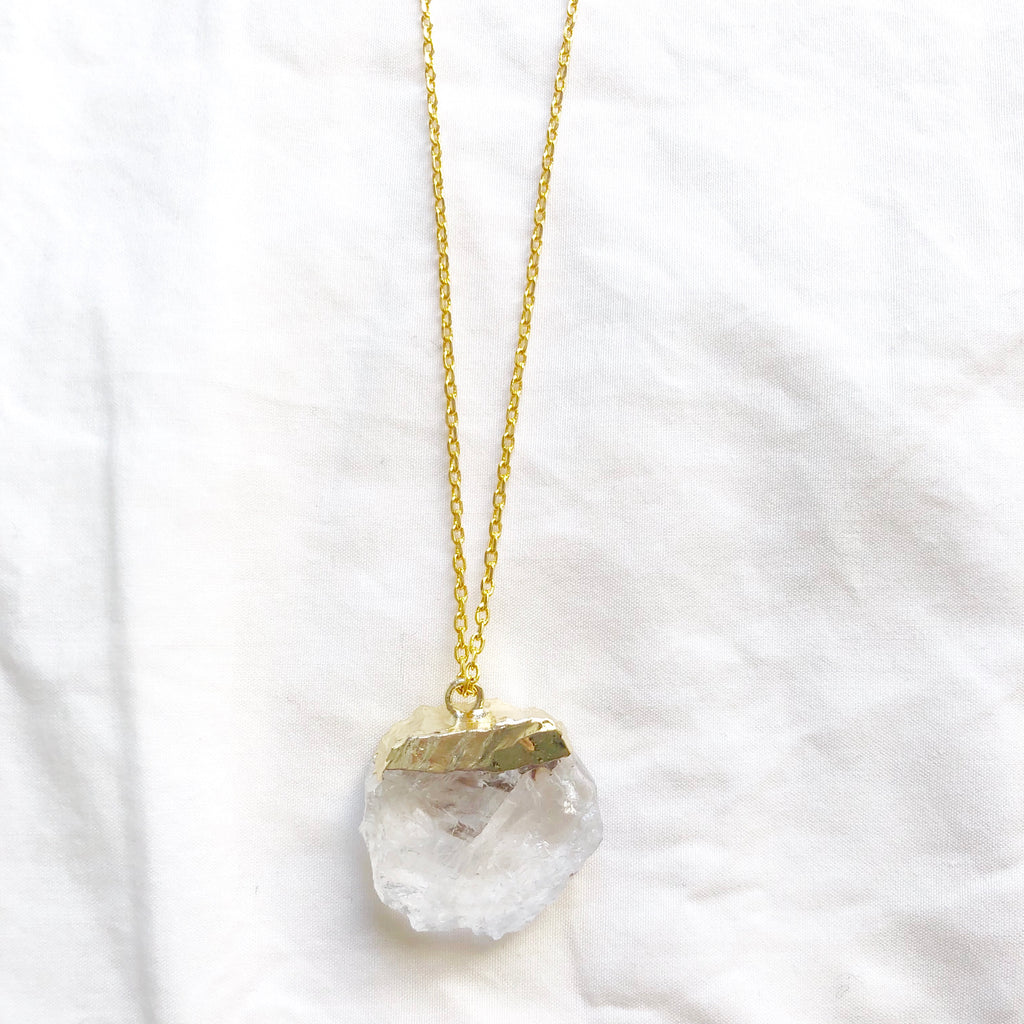 Clear Quartz Slice Necklace