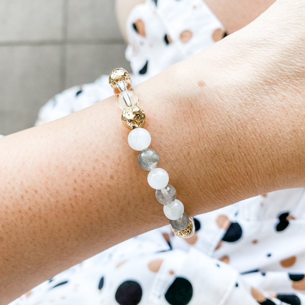 White & Grey Moonstone + Clear Quartz + Gold Lava Bracelet