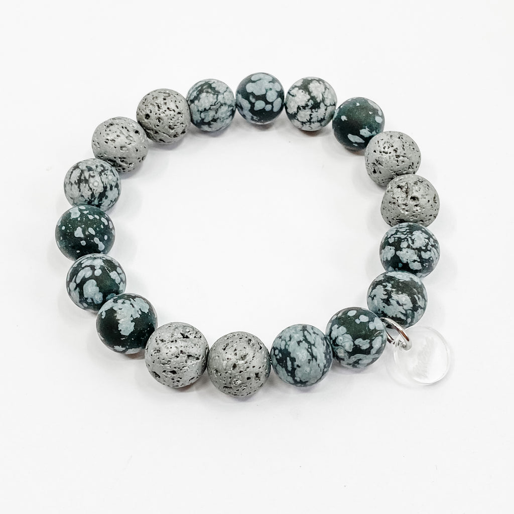 Snowflake Obsidian + Nerolina Essential Oil Diffuser Bracelet