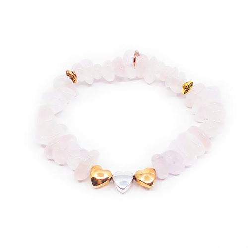 Rose Quartz + Heart Bracelet
