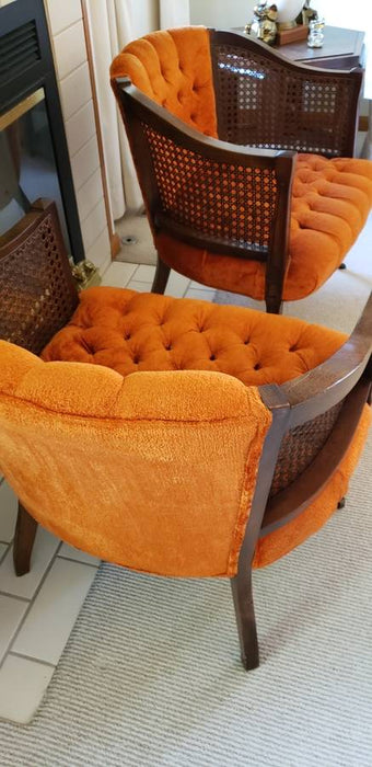 Pair Mid Century Burnt Orange Caned Wood Chairs w/ Wheels