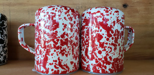 Crow Canyon Home Salt/Pepper Shakers Red & White Splatterware