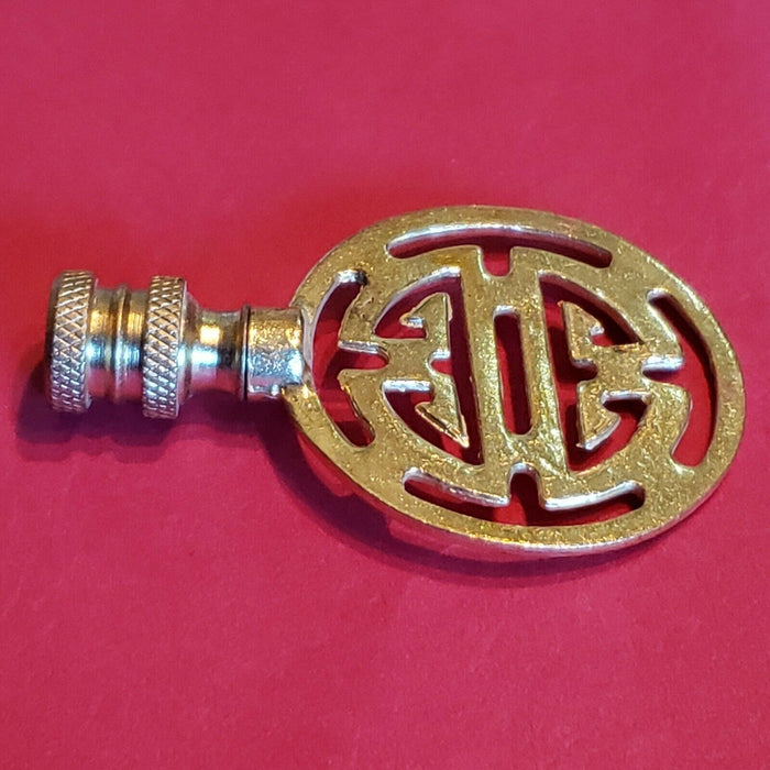 Solid Bright Brass Gold Asian Chinese Symbol Lamp Finial 2  3 /4 x 1  3 /4""