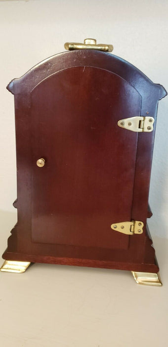 Kensington Quartz Mantle Shelf Clock, Dark Wood Glass Door Brass Fixtures, EUC