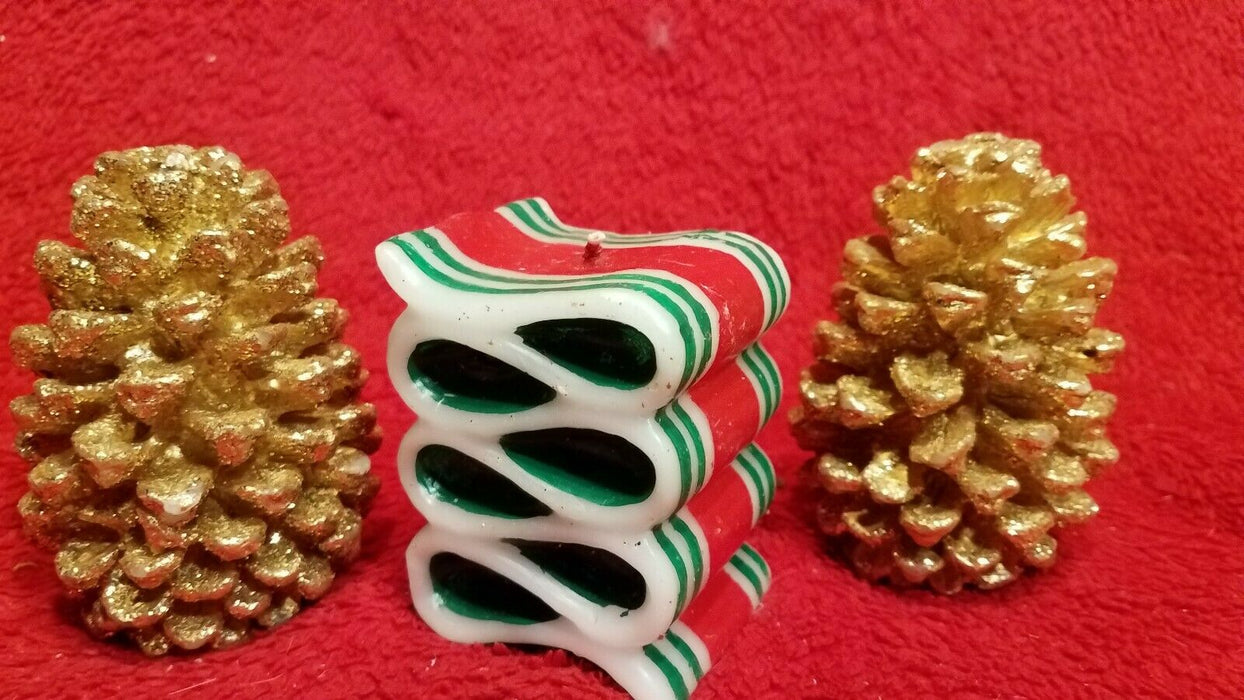 Lot of 3 Christmas Candles 2 Golden Pine Cone Candles 1 Ribbon Candy Candle