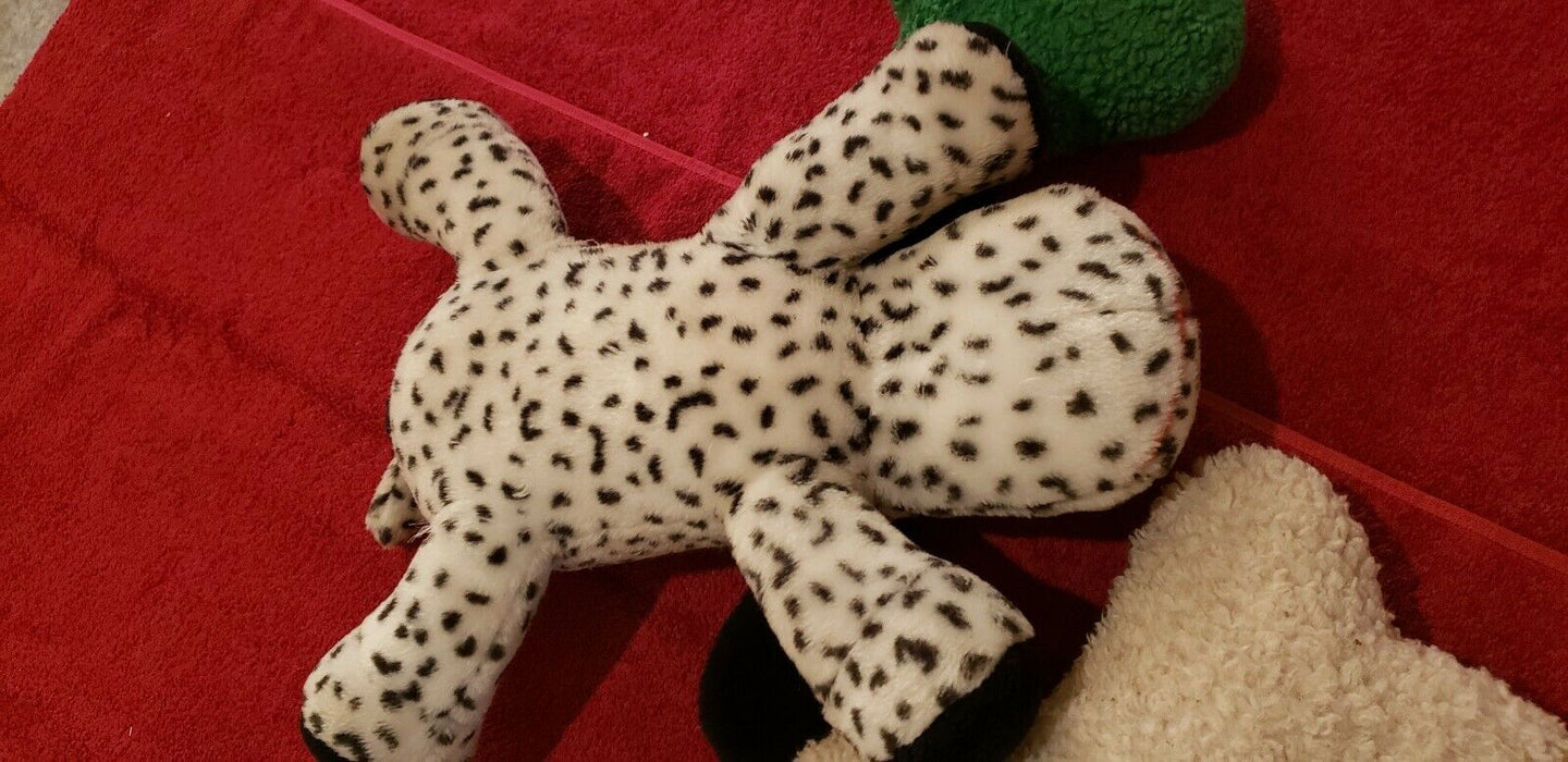 "Barking Dog Plush Black And White 16"" Stuffed Animal Toy, plus 3 toy stuffies"
