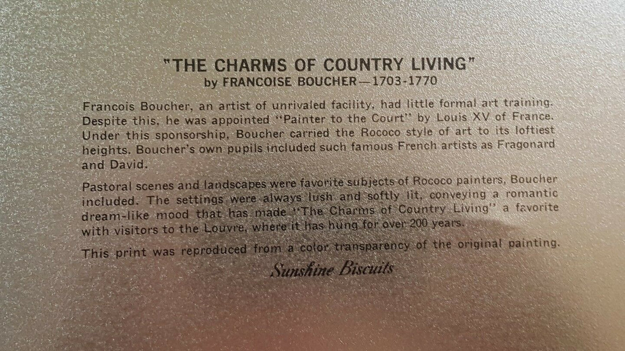 "COLLECTIBLE VINTAGE SUNSHINE BISCUITS TIN LID ""THE CHARMS OF COUNTRY LIVING"""