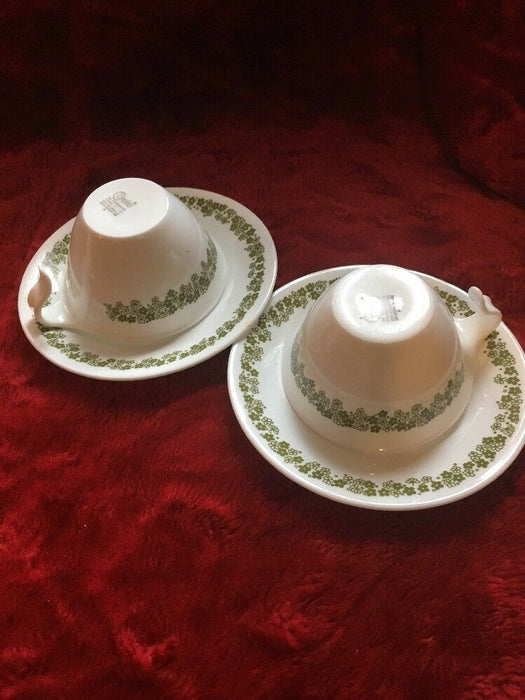 2 Corelle Corning Ware Green Flower Design Tea Cups and Saucers