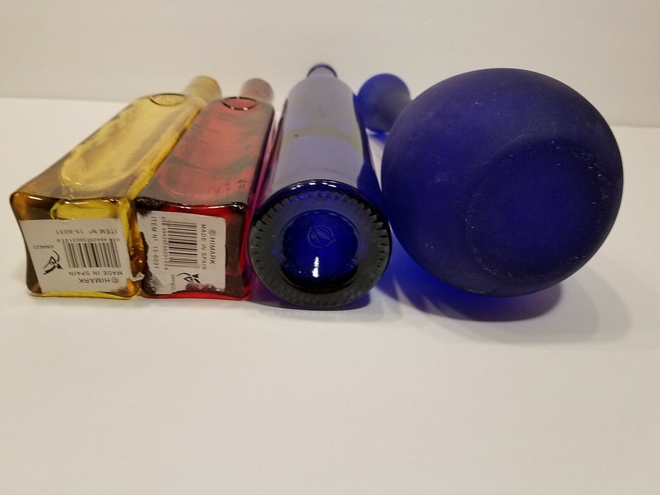 Set of 3 Colored Bottles, 1 Red w/ Cork, 1 Yellow w/ Cork 1 Blue & 1 Blue Vase