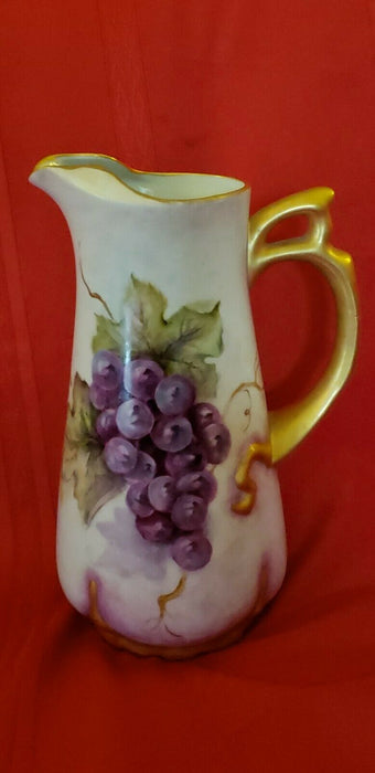 Custom handcrafted one of a kind 24k gold Pitcher Pottery Grapes 10""