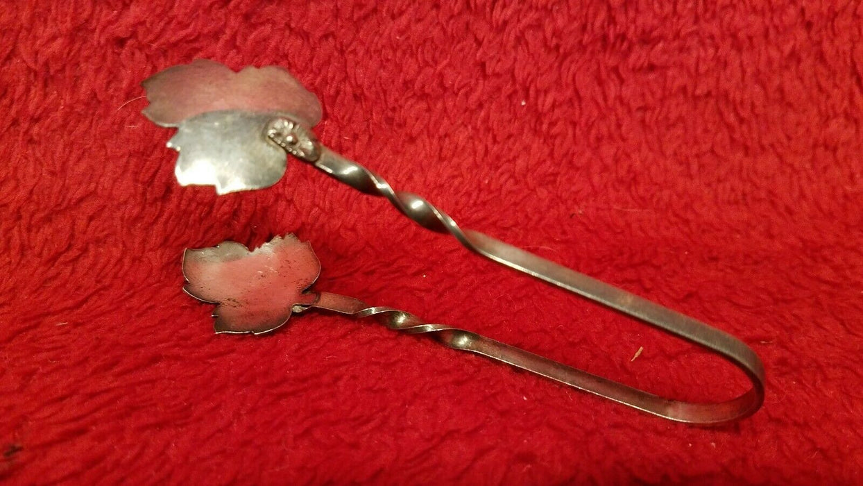 1 Silver Plated Maple Leaf Design Serving Pickle Tongs