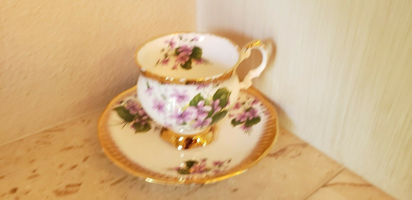 Rosina Violet Purple Flowers Tea Cup And Saucer Gold Rim Bone China