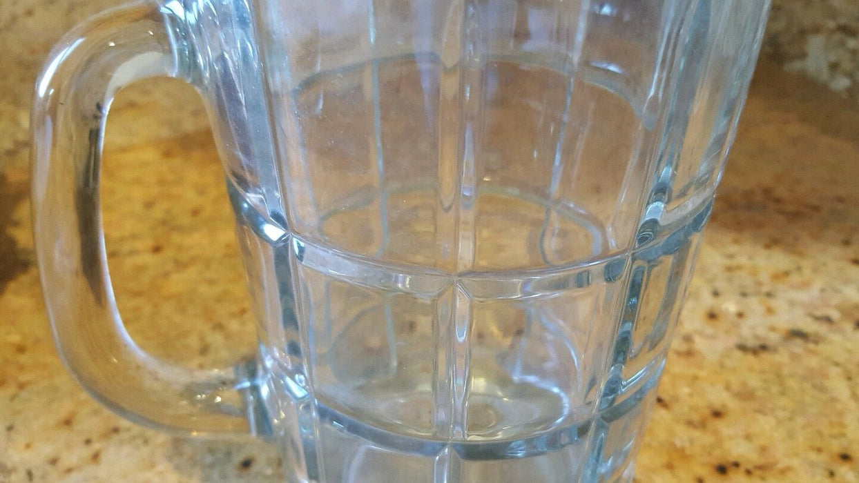ANCHOR HOCKING CLEAR GLASS PITCHER Art Deco look 8.5 inches tall