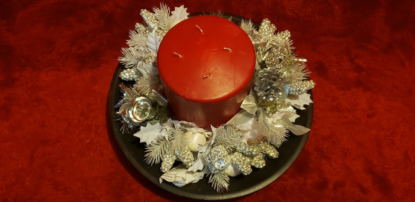 Christmas Centerpiece Table Decoration Wood bowl, Red Candle, Silver Greenery