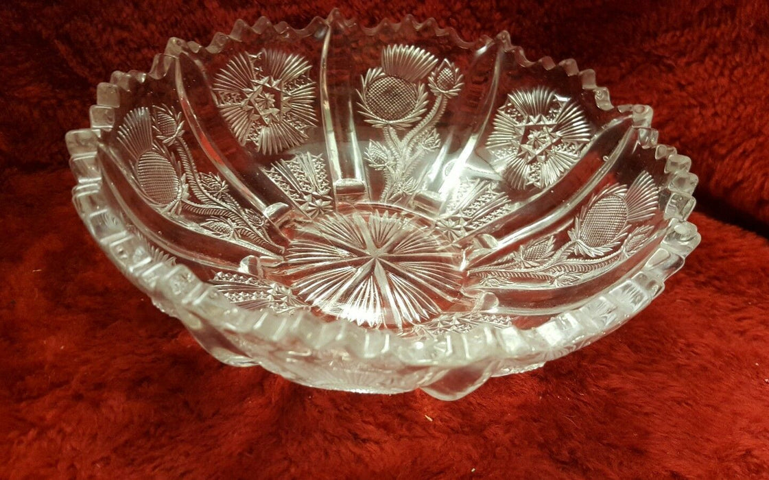 Lot 2:  Crystal Bowl w/ Dandelion Design and Crystal Candy Dish w/ handle