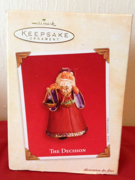 "NEW HALLMARK KEEPSAKE ORNAMENT ""THE DECISION"" PRESENT OR LUMP OF COAL"""