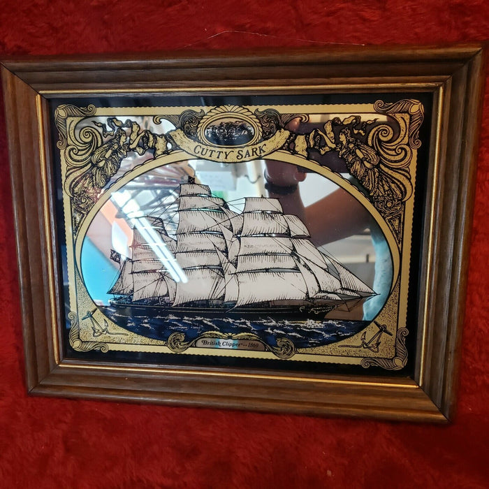 VINTAGE MIRRORED PICTURE WITH THE cutty sark ship/BRITISH CLIPPER