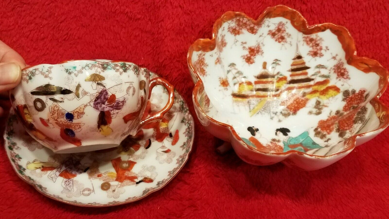 Vintage Porcelain Japanese Cup and Saucer w/ Geisha's & Footed Bowl