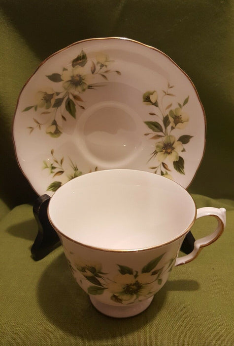 Royal Vale Bone China Made In England Ridgway Potteries Green And White Teacup