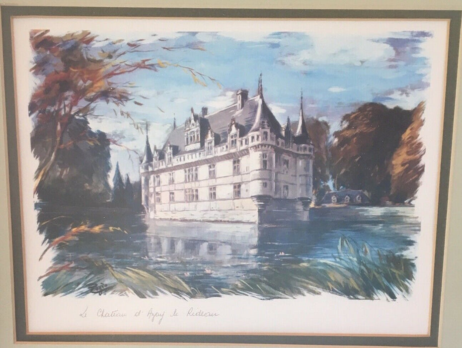 20th century set of two framed French castles by artist Alfred Brunet-Debaines