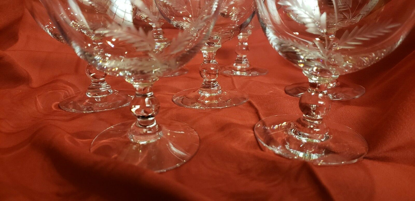 Lot 8: Cut Crystal Wheat Design Dessert or Berry Glasses, plus match wine glass